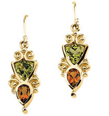 Real Golden Citrine and Peridots 14K Yellow Gold Earrings