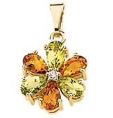 Real Golden Citrine, Peridots and Diamonds 14K Yellow Gold Flower Pendant