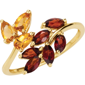 Real Golden Citrine and Mozambique garnets 14K Yellow Gold Ring