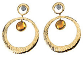 Real Golden Citrines and Diamonds 14K Yellow Gold Earrings