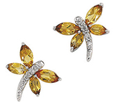 Real Golden Citrines and Diamonds 14K White Gold Dragonfly Earrings