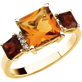 Real Golden Citrine, Madeira Citrines and Diamonds 14K Yellow Gold Ring