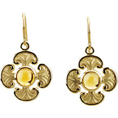 Real Golden Cabochon Citrine 14K Yellow Gold Maltese Cross Earrings