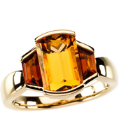 Real Golden Citrine and Madeira Citrines 14K Yellow Gold Ring