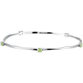 Genuine peridot bracelet and bangle in real white gold