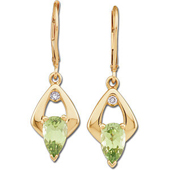 Genuine peridot dangle earrings with real diamonds in real yellow gold