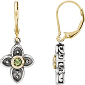 genuine peridot cabochon cross dangle earrings