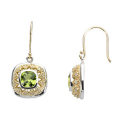natural peridot hand engarved earrings bezel set in real gold  and surrounded by a halo of diamonds