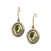 genuine green peridot cabochon earrings with fine filgeree in real gold