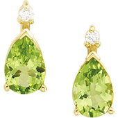 Genuine green peridot pear shaped earrings in real gold and topped with  real diamonds