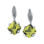 princess cut genuine green peridot 4 prong set dangle earrings in real gold suspended from a  marquise shaped mount studded with diamonds