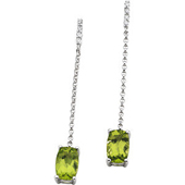 Genuine cushion cut green peridot dangle earrings in 4 prong real gold setting  suspended from a sting of diamonds set in real white gold