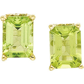 Genuine green emerald cut peridot earrings in 4 prong yellow gold scroll settings