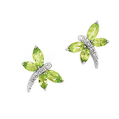 dragonfly earrings with genuine green marquise cut peridots set in real white gold and studded with real diamonds to form a dragonfly