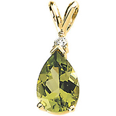 Genuine pear shaped green peridot pendant in real yellow gold and topped with a real diamond