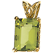 Genuine emerald cut peridot pendant in 4 prong real gold scroll settings