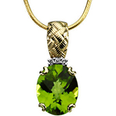 genuine oval cut peridot pendant in 4 prong real gold engraved settings