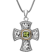 genuine green peridot pendant bezel set in sterling silver with filgeree squared halo in real gold