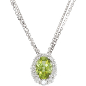 genuine oval peridot diamonds halo pendant in real white gold