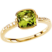 Natural gree peridot solitate ring bezel set on a diamond studded  real yellow gold shank