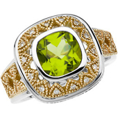 Cushion cut genuine peridot ring with diamonds and delicate engravings in real gold