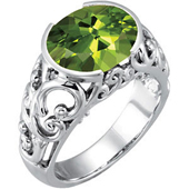 Oval cut genuine peridot ring with antique open scroll work in real white gold