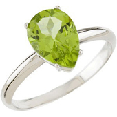 Pear shaped genuine peridot solitaire ring in real white gold