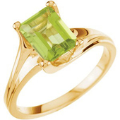 Emerald cut genuine peridot solitaire ring in real yellow gold