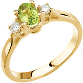 oval cut genuine green peridot three stone ring with round diamonds  in real gold