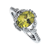 oval cut genuine green peridot ring with diamonds on both sides in real white gold