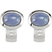 Real Tanzanites and Diamonds White Gold Earrings