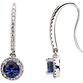 Real Tanzanites and Diamonds White Gold Halo Earrings