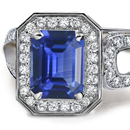 14K WHITE GOLD 10.80TCW BLUE SAPPHIRE/DIAMOND RING SIZE 7.5 - FREE SHIPPING