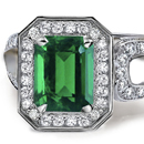 Round Diamond Square Emerald Engagement Ring