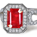 Satin Polished Emerald Cut Ruby Designer Ring