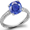 14K WHITE GOLD Blue Sapphire Diamond Engagement & Wedding Ring (with Appraisal)