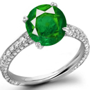 Diamond Ring with Mozambique Emeralds