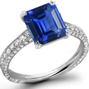 14K WHITE GOLD PRINCESS-CUT BLUE SAPPHIRE & DIAMOND BAND RING