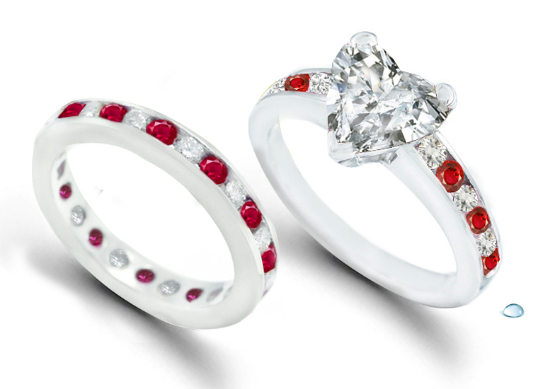 Fiery Red Hot Ruby Heart Diamond Engagement Rings Wedding Bands