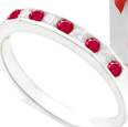 Sterling Silver Ruby & Diamond Ring