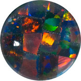 Round Lab Created Mosaic Opal