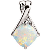 Real Opal white Gold Pendant