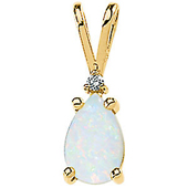 Real Opal and Diamond white Gold Pendant