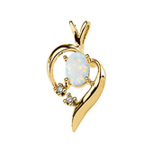 Real Opal and Diamond Gold Pendant