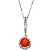 Real Red Mexican Opal and Diamond Gold Pendant