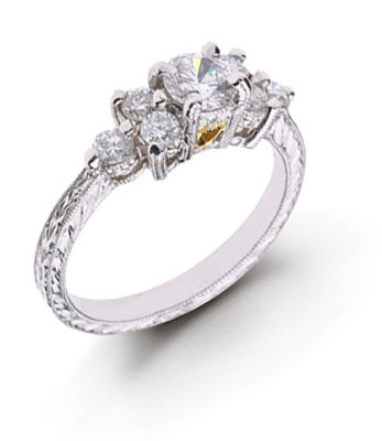 diamond engraved wedding rings