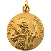 St. Christina Yellow Gold Medal . In Stock in both Gold and Sterling Silver