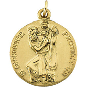 St. Christopher Yellow Gold Medal . In Stock in both Gold and Sterling Silver