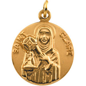 St. Clare Yellow Gold Medal . In Stock in both Gold and Sterling Silver