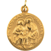 St. Cosmos and Damian Yellow Gold Medal . In Stock in both Gold and Sterling Silver